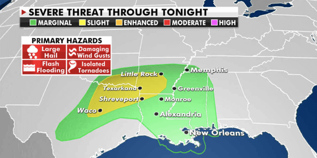 A slight risk for severe weather has been placed across parts of Arkansas, Louisiana and Texas. (Fox News)