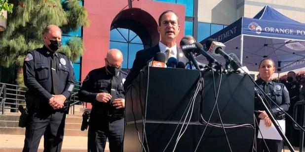 Orange County District Attorney Todd Spitzer speaks during a press conference Thursday at the Orange Police Department headquarters in Orange, Calif. (AP Photo / Stefanie Dazio)