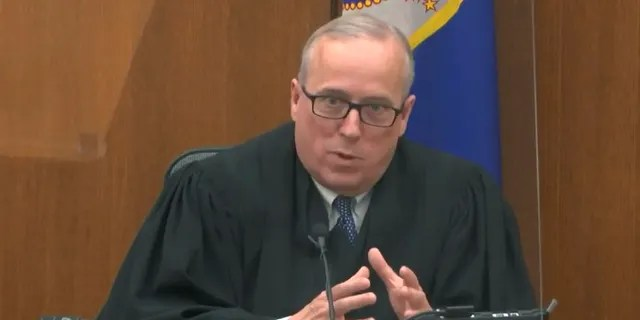 In this image from video, Hennepin County Judge PeterCahill discusses motions before the court Monday, April 12, 2021, in the trial of former Minneapolis police Officer Derek Chauvin at the Hennepin County Courthouse in Minneapolis. (Associated Press)