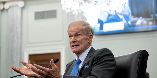 Former Sen. Bill Nelson, newly-appointed NASA administrator, speaks during a Senate Committee on Commerce, Science, and Transportation confirmation hearing, Wednesday, April 21, 2021 on Capitol Hill in Washington. (Saul Loeb/Pool via AP)