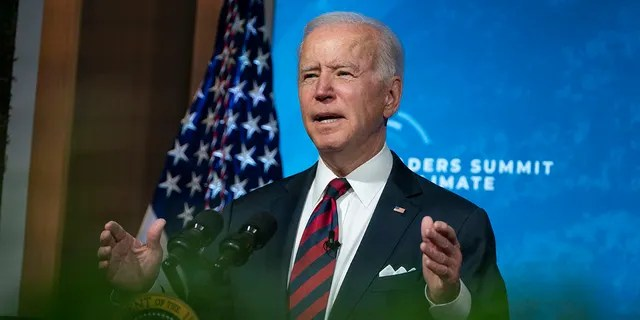 President Joe Biden spoke in Washington on Thursday, April 22, 2021, from the East Room of the White House for the Virtual Leaders Summit on Climate.  (AP Photo / Ivan Vukie)