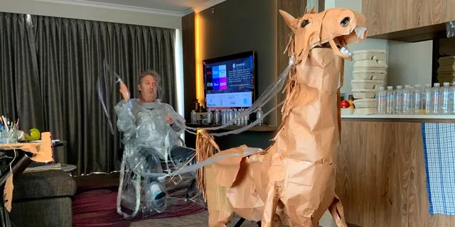 Marriott even went on to make a nemesis for his cowboy, the Clingfilm Kid. (David Marriott via AP)