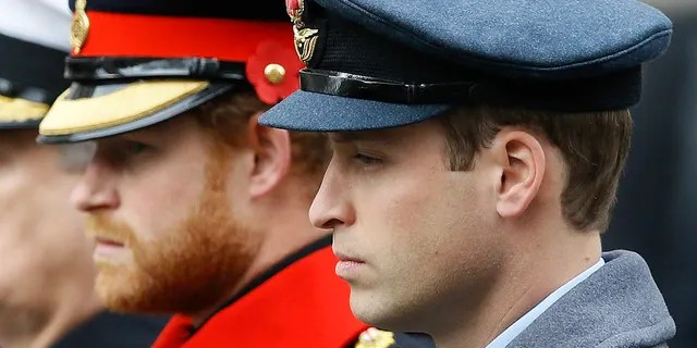 FILE - In this Sunday Nov. 8, 2015 file photo, Britain's Prince William, right, and Prince Harry attend the Remembrance Sunday ceremony at the Cenotaph in London. (AP Photo/Kirsty Wigglesworth, File)