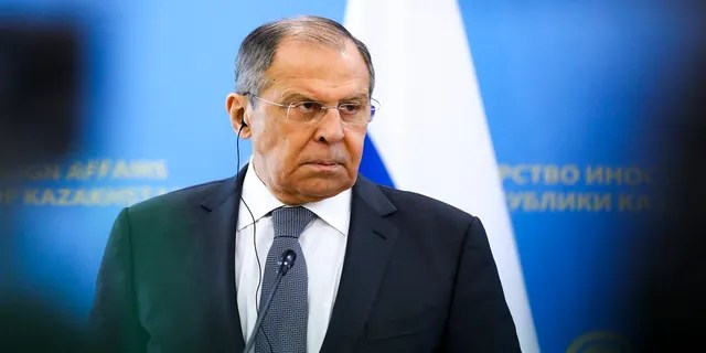 Russian Foreign Minister Sergey Lavrov listens to a journalist's question during a press conference Thursday. (AP/Russian Foreign Ministry)