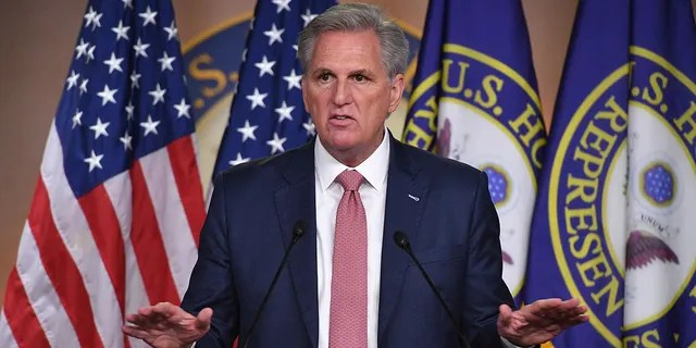 House Minority Leader, Kevin McCarthy, Republican of California, speaks during his weekly press briefing on Capitol Hill in Washington, D.C., on March 18, 2021. (Photo by MANDEL NGAN/AFP via Getty Images)