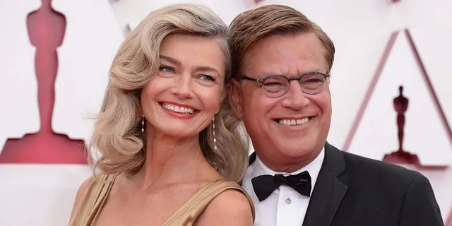 Paulina Porizkova and Aaron Sorkin attended the 93rd Academy Awards ceremony on Sunday, April 25, 2021, at Union Station Los Angeles and the Dolby Theatre at Hollywood & Highland Center. (ABC via Getty Images)