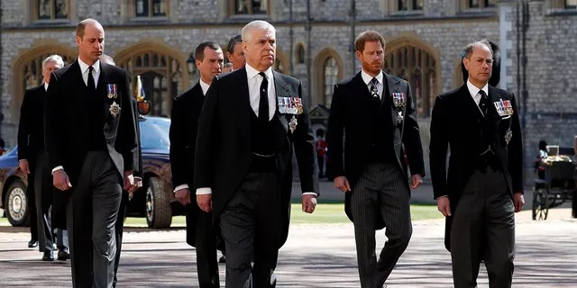 Prince William, Duke of Cambridge, Prince Andrew, Duke of York, Prince Harry, Duke of Sussex and Prince Edward, Earl of Wessex during the funeral of Prince Philip, Duke of Edinburgh at Windsor Castle on April 17, 2021, in Windsor, England.