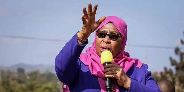 FILE - On this Tuesday, March 16, 2021, file photo, Tanzanian President Samia Suluhu Hassan speaks during a visit to the Tanga region of Tanzania.  (Ap photo / file)