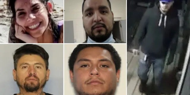 Authorities say suspects in the Rossana Delgado case include Megan Alyssa Colone, 30, top left; Juan Ayala-Rodriguez, 35, bottom left; Mario Alberto Barbosa-Juarez, 29, top center; Oscar Manuel Garcia, 26, bottom center; and another suspect, far right, who was unidentified. (Georgia Bureau of Investigation)