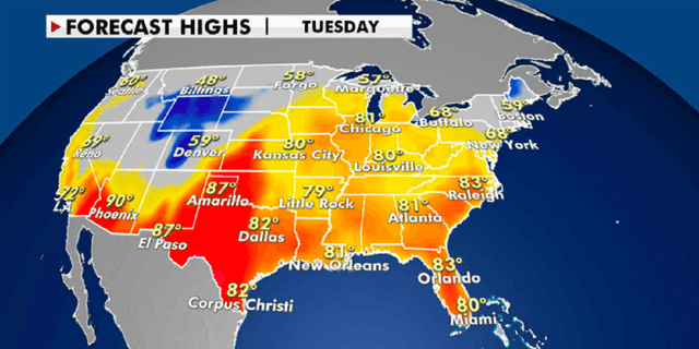 Forecast high temperatures for Tuesday. (Fox News)