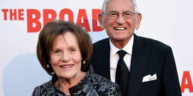 Eli Broad, founder of The Broad museum, arrives with his wife Edythe at the museum's opening in Los Angeles, Sept. 17, 2015. (Associated Press)