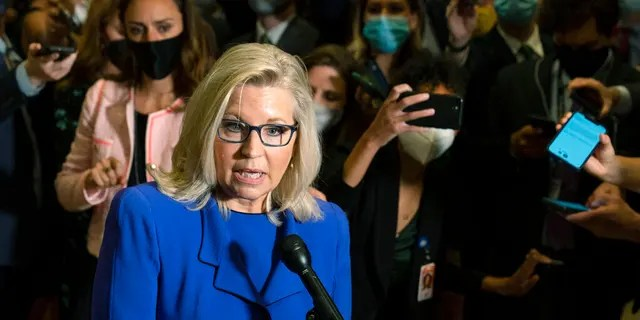 Rep. Liz Cheney, R-Wyo., speaks to reporters after House Republicans voted to oust her from her leadership post as chair of the House Republican Conference because of her repeated criticism of former President Donald Trump for his false claims of election fraud and his role in instigating the Jan. 6 U.S. Capitol attack, at the Capitol in Washington, Wednesday, May 12, 2021. (AP Photo/Manuel Balce Ceneta)
