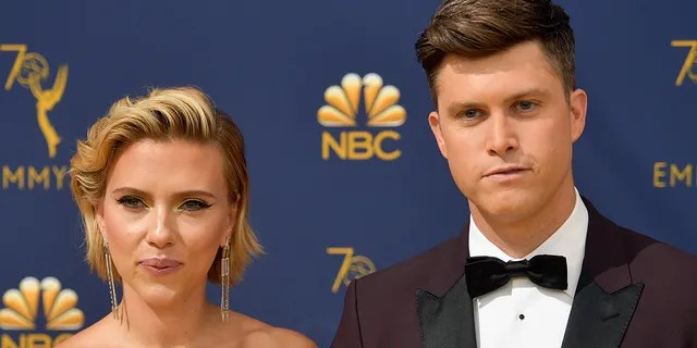 Scarlett Johansson was slimed by her husband, Colin Jost, during her acceptance speech at the MTV Movie and TV Awards. (Photo by Matt Winkelmeyer/Getty Images)