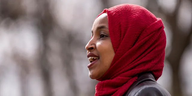 """Rep. Ilhan Omar, D-Minn., speaks during a press conference at a memorial for Daunte Wright on April 20, 2021 in Brooklyn Center, Minn. Omar and other """"Squad"""" Democrats have condemned anti-Semitism in recent days, but some say their comments aren't enough. (Stephen Maturen/Getty Images)"""