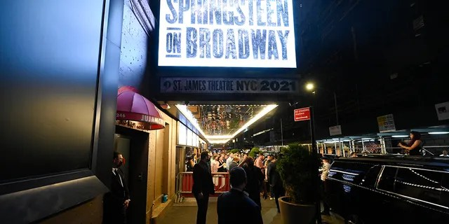"""The """"Springsteen On Broadway"""" marquee is seen on reopening night at the St. James Theatre on Saturday, June 26, 2021, in New York City. (Associated Press)"""