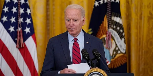 President Joe Biden arrives to speak about infrastructure negotiations, in the East Room of the White House, Thursday, June 24, 2021, in Washington. (AP Photo/Evan Vucci)