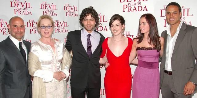 The cast of 'The Devil Wears Prada' – (L-R) Stanley Tucci, Meryl Streep, Adrian Grenier, Anne Hathaway, Emily Blunt and Daniel Sunjata.