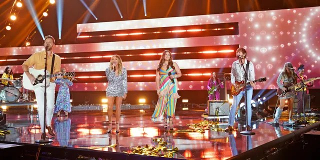 Charles Kelley of musical group Lady A, Carly Pearce, Hillary Scott and Dave Haywood of musical group Lady A and Lindsay Ell perform onstage at the 2021 CMT Music Awards at Bridgestone Arena on June 09, 2021, in Nashville, Tennessee. (Photo by Erika Goldring/Getty Images for CMT)