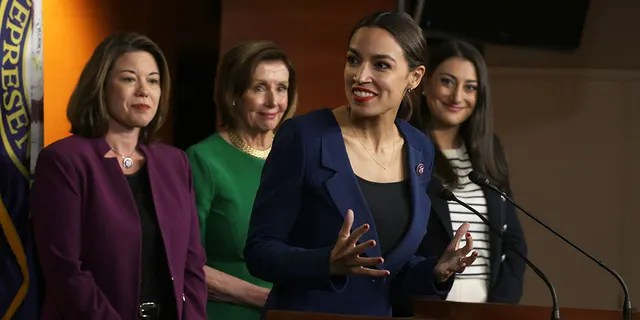 WASHINGTON, DC - JUNE 16: U.S. Rep. Alexandria Ocasio-Cortez (D-NY) (3rd L) speaks as (L-R) Rep. Angie Craig (D-MN), Speaker of the House Rep. Nancy Pelosi (D-CA) and Rep. Sara Jacobs (D-CA) listen during a news conference at the U.S. Capitol June 16, 2021 in Washington, DC. Speaker Pelosi held a news conference to announce members of the newly established Select Committee on Economic Disparity and Fairness in Growth. (Photo by Alex Wong/Getty Images)