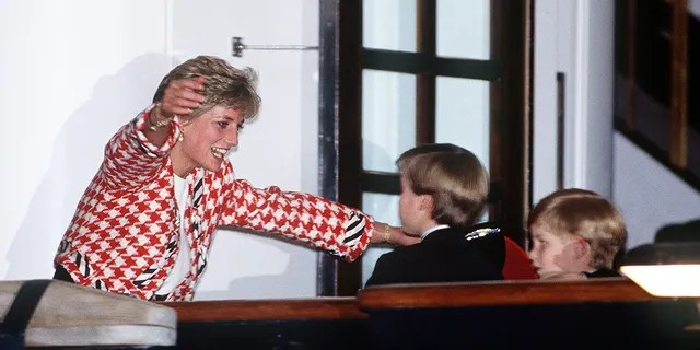 The Princess of Wales greets her sons Prince William and Prince Harry on the deck of the yacht Britannia in Toronto, when they joined their parents on an official visit to Canada, 23rd October 1991.