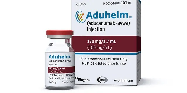 June 7, 2021: This image provided by Biogen shows a vial and packaging for the drug Aduhelm.