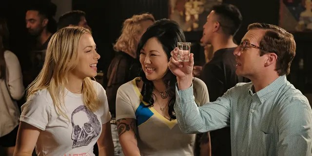 This image released by Netflix shows Iliza Shlesinger, from left, Margaret Cho and Ryan Hansen in a scene from 'Good On Paper.'