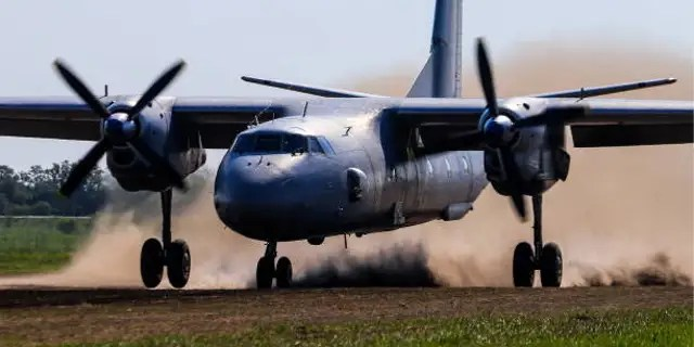 FILE 2018: An Antonov An-26 military transport aircraft during exercises held by the 4th Air and Air Defence Forces Army of the Russian Southern Military District. A similar passenger plane is reportedly missing. Photo by Valery Matytsin TASS via Getty Images)