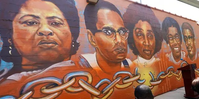"""Five of the six civil rights legends, living and dead, that the Jackson State University's Office of Community Engagement, are honored with the unveiling of its """"Chain Breakers"""" mural at the COFO building in Jackson, Miss., Saturday, July 24, 2021."""