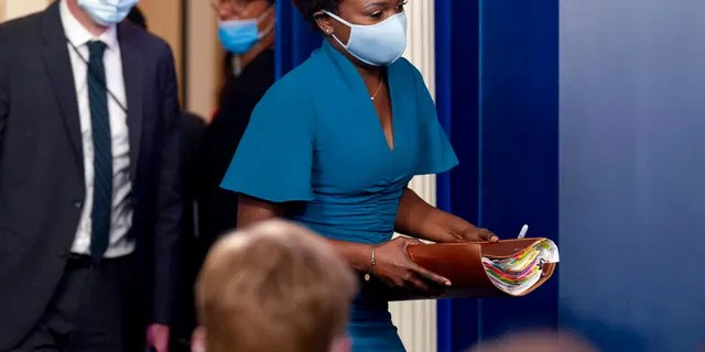 White House deputy press secretary Karine Jean-Pierre arrives for a news briefing at the White House in Washington, Friday, July 30, 2021. (Associated Press)