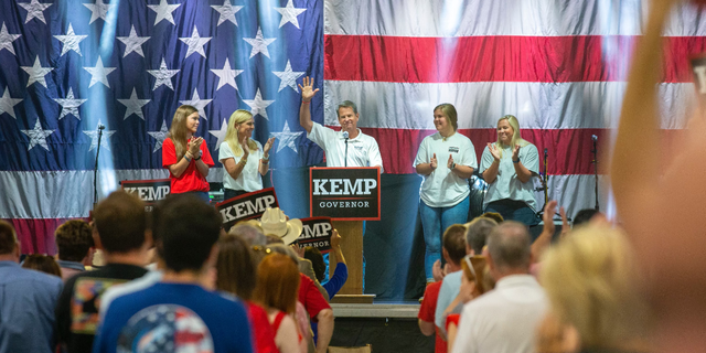 Republican Gov. Brian Kemp of Georgia formally launches his 2022 reelection campaign at a kick off event in Perry, Ga., on July 10, 2021. (Courtesy of Brian Kemp campaign)
