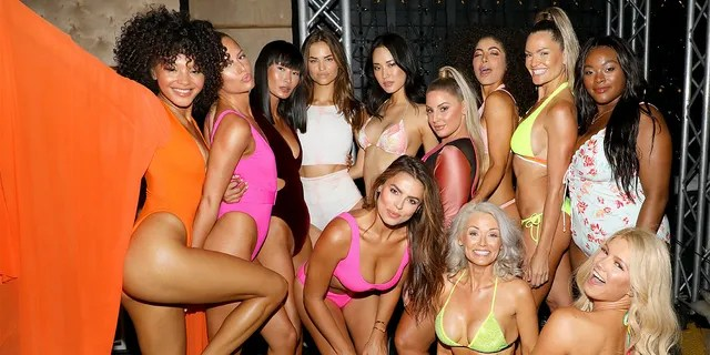 Models Jamea Byrd, Miki Hamano, Robin Holzken, Hyunjoo Hwang, Ashley Alexiss, Soraya Id, Katina Taylor, Brielle Anyea, Brooks Nader and Kathy Jacobs attend the 2019 Sports Illustrated Swimsuit Runway Show During Miami Swim Week At W South Beach - Front Row/Backstage at WET poolside lounge at W South Beach on July 14, 2019 in Miami Beach, Florida.