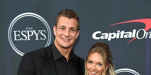 Rob Gronkowski and Camille Kostek attend the 2021 ESPY Awards at Rooftop At Pier 17 on July 10, 2021 in New York City.
