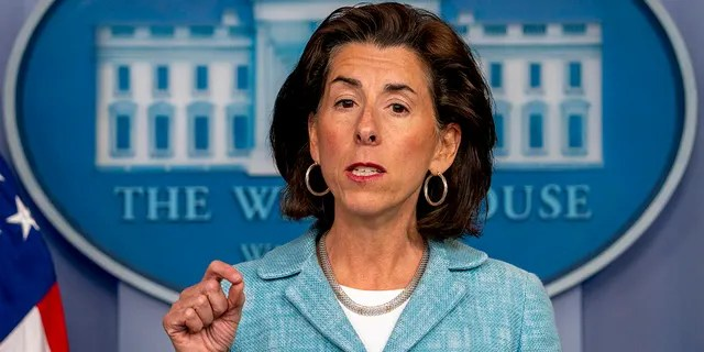 Commerce Secretary Gina Raimondo speaks during a press briefing in the briefing room of the White House in Washington, Thursday, July 22, 2021. (AP Photo/Andrew Harnik)