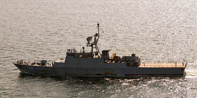 The Iranian navy destroyer Sahand is seen sailing through the Baltic Sea off the island of Bornholm, a Danish island in the Baltic Sea off the south coast of Sweden, on Thursday.