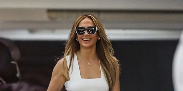 Jennifer Lopez heads to her office in West Hollywood.