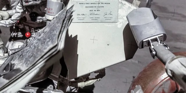 A commemorative plaque on the Lunar Roving Vehicle (LRV)