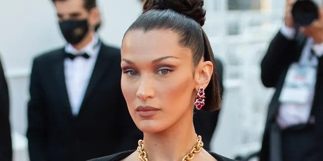 Bella Hadid at Cannes Film Festival in a necklace inspired by the human lungs by designer Daniel Roseberry for Schiaparelli's Fall 2021 collection.