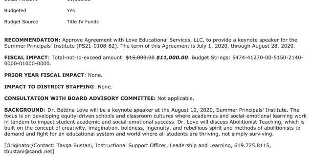 A screenshot of an agreement to pay Bettina Love $11,000 to give a keynote speech for the San Diego Unified School District's Summer Principal's Institute.