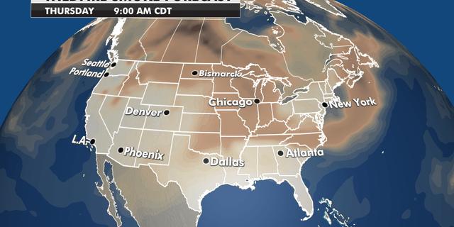 Where the wildfire smoke will be heading through Thursday. (Fox News)