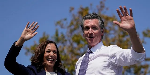 Vice President Kamala Harris stands onstage with California Gov. Gavin Newsom in San Leandro, California, Wednesday, Sept. 8, 2021. (Associated Press)