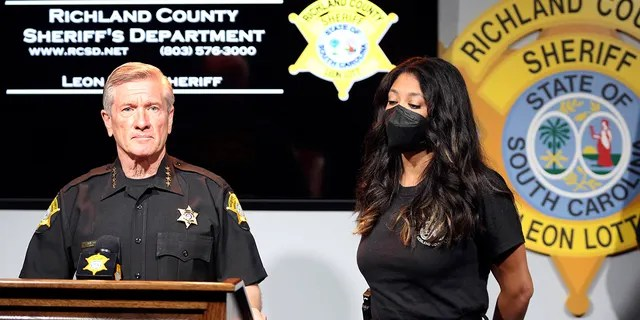 Richland County Sheriff Leon Lott and Coroner Nadia Rutherford talk about the heat deaths of two 20-month-old twin boys during a news conference on Tuesday, Sept. 21, 2021, in Columbia, South Carolina.