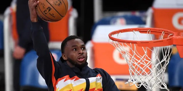 Golden State Warriors forward Andrew Wiggins warms up before the NBA play-in game against the Los Angeles Lakers at Staples Center.
