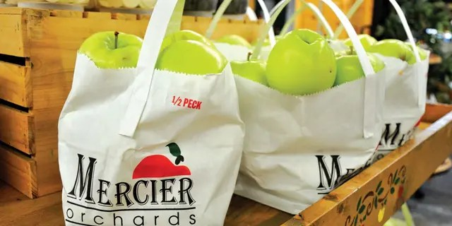 Mercier Orchards has 50 varieties of apples in addition to apple pies, apple cider, apple butter and apple fritters.