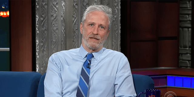 """Jon Stewart is seen during an appearance on """"The Late Show with Stephen Colbert."""" (CBS/The Late Show)"""
