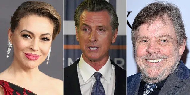 Alyssa Milano and Mark Hamill were among the many celebrities supporting Gavin Newsom in the recall election