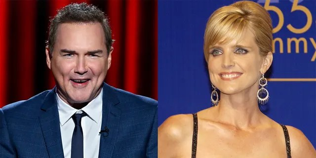 Norm Macdonald mocks Courtney Thorne-Smith during a shared interview on 'Late Night with Conan O'Brien'.  (Getty Images)