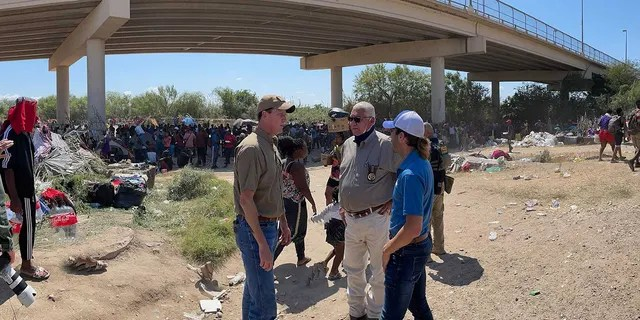 Rep. August Pfluger, R-Texas, meets with local officials in Del Rio. (Rep. Pfluger)