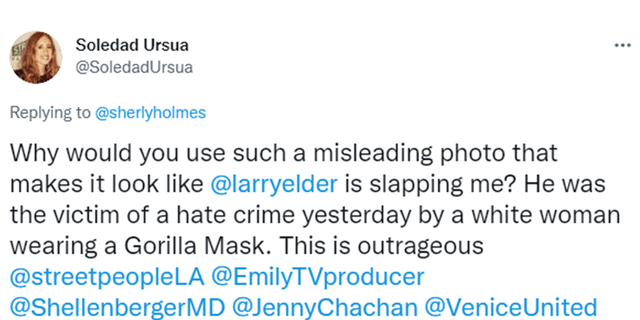 Woman in LA Times photo of her and Elder responds with tweet