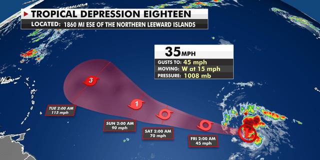 Tropical Depression 18 trajectory