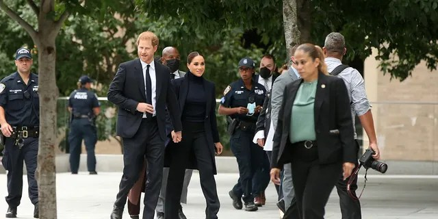 Prince Harry and Meghan Markle held hands as they walked through New York City to attend an event with New York Gov. Kathy Hochul and Mayor Bill de Blasio.